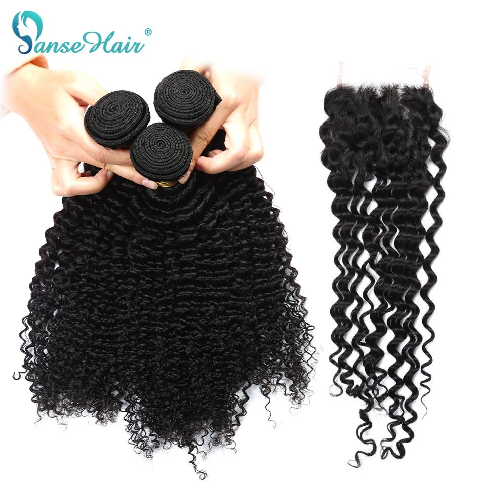 Brazilian Deep Curly Hair 3 Bundles Human Hair With Lace Closure 4*4 Customized 8 To 28 Inches Hair Weaving Non Remy Panse Hair