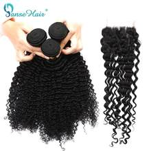 Brazilian Deep Curly Hair 3 Bundles Human Hair With Lace Closure 4*4 Customized 8 To 28 Inches Hair Weaving Non Remy Panse Hair(China)
