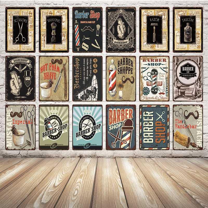 [Kelly66] Парикмахерская бритье и стрижка волос металлический знак оловянный плакат табличка для домашнего декора настенная живопись 20*30 см размер y-1682