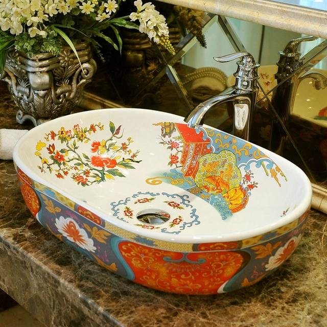 Oval Bathroom Lavabo Ceramic Counter Top Wash Basin Cloakroom Hand Painted  Vessel Sink Bathroom Sinks Countertop