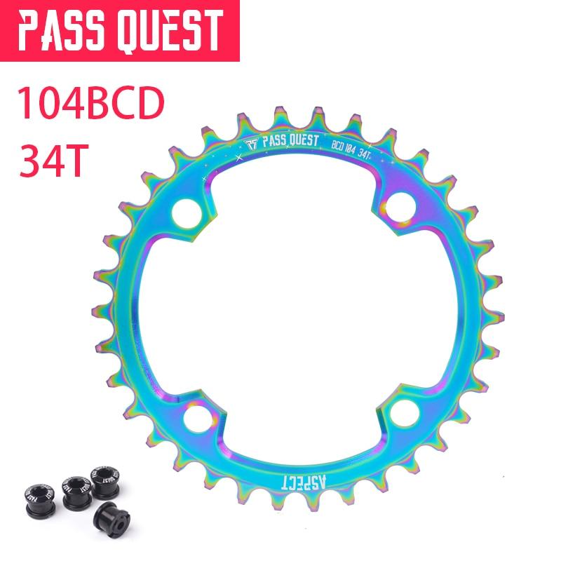 Pass quest VTT dents de roue à chaîne ronde 104BCD pédalier de vélo en aluminium plateau titane placage pièces de vélo