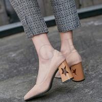 LAIGZEM ELEGANT Women Heels Square Toe Hollow Star Chunky Pumps Casual Shoes Woman Chaussure Sapato Feminino Small Big Size 3 15