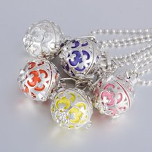 2015 Mix Popular Fashion Necklace Colorful Locket Bola Silver Plated Harmony Pregnancy Ball Cage Locket Pendant Hollow Out