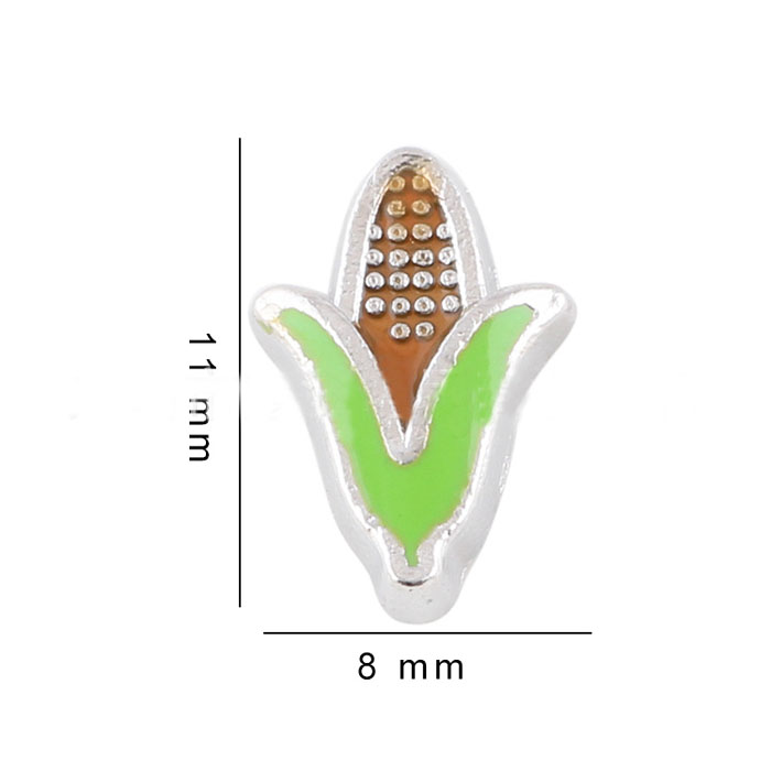 Free Shipping, 20pcs Enamel Mixed Color Corn Floating Charms Fit For Glass Living Memory Lockets, Gifts