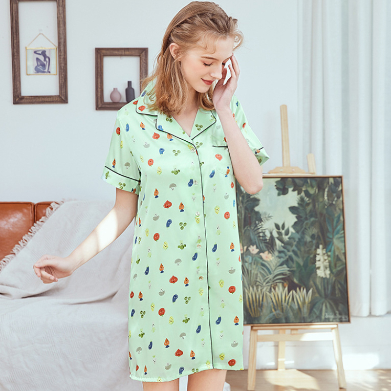 SSH0355 Satin Silk Sleepwear Women Sexy Mini Short   Nightgown     Sleepshirts   Ladies Printed Nightdress Female Night Gown Night Dress