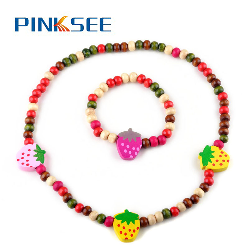 Children Kids Jewelry Set Handmade Wooden Beads Bees/Strawberry/Heart/Beetles/Flowers Necklace Bracelet Jewelry 2pcs/Set Free