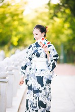 Cute Cat Black and White Japanese Kimono Dress, Summer Festival Traditional Bathrobe Suit
