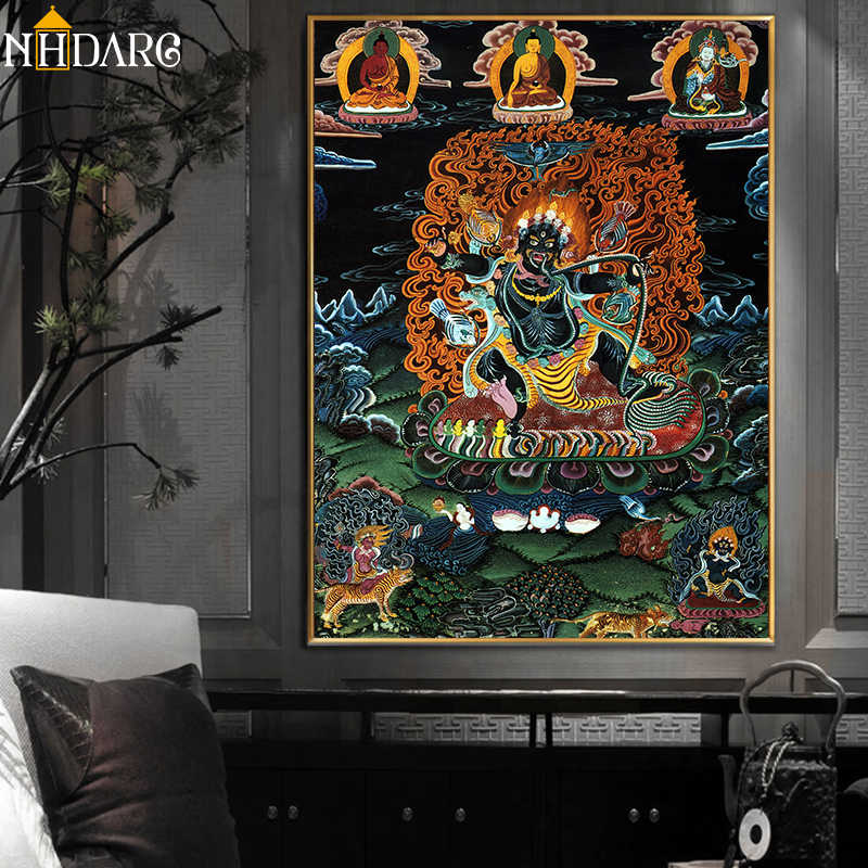Thangka Vajrapani India Chinese Religion Buddha Painting Canvas Print Painting Poster Art Wall Picture for Hallway Home Decor