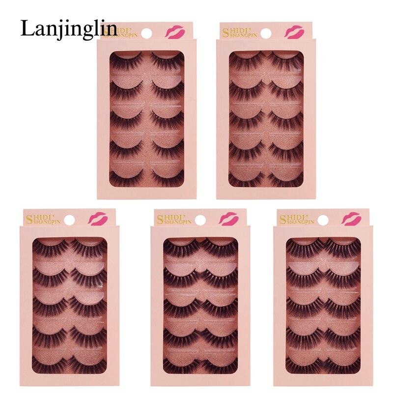 LANJINGLIN 5 pares 3d mink lashes maquiagem natural cílios postiços feitos à mão vison cílios tira completa cílios chicote do olho falso # G9