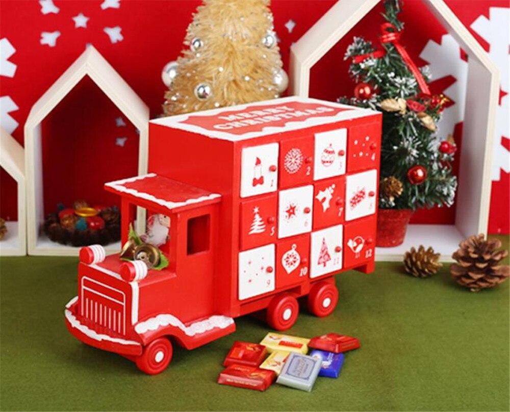 Calendrier De L Avent Voiture.Promotionnel Cadeau De Noel En Bois Rouge Et Blanc Voiture