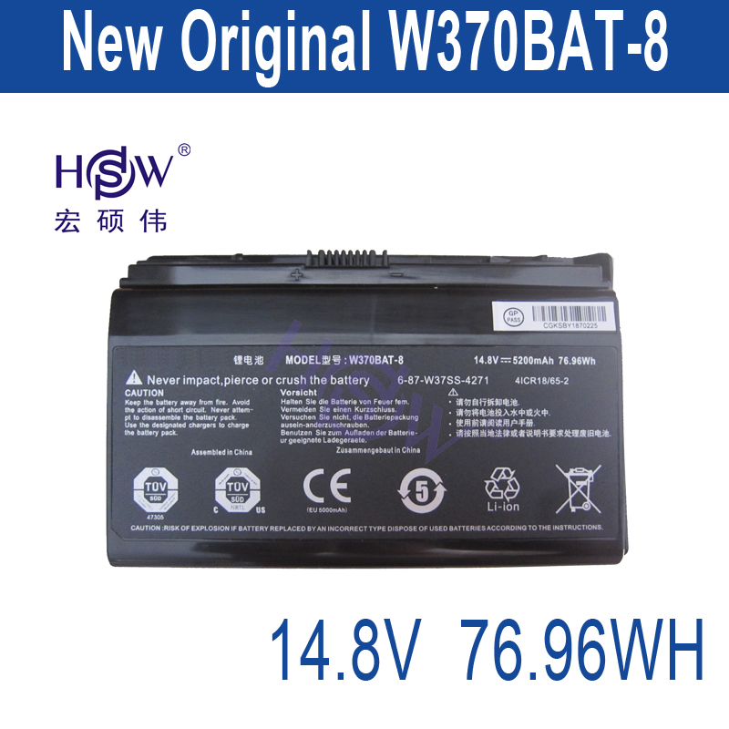 HSW W370bat-8 battery for Clevo W350et W350etq W370et Sager Np6350 Np6370 Schenker Xmg A522 XMG A722 6-87-w370s-4271 genuine new original cable fit for clevo w370et lcd cable 6 43 w3701 010 k 6 43 w3701 011 k