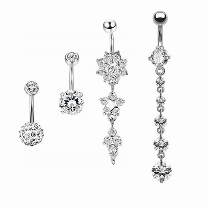 4pcs 316L Steel Navel Piercing Ring Vintage Flower Belly Button Ring Sexy Belly Bar Body Piercing Jewelry Ombelico Body Piercing