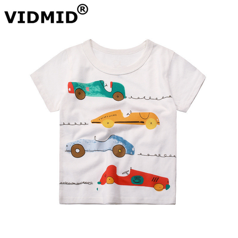 VIDMID Summer T-shirts Baby Boys Short Sleeve T-shirts Kids Boys Truck Cotton T-shirts Children Boy girls cars clothes 4037 01