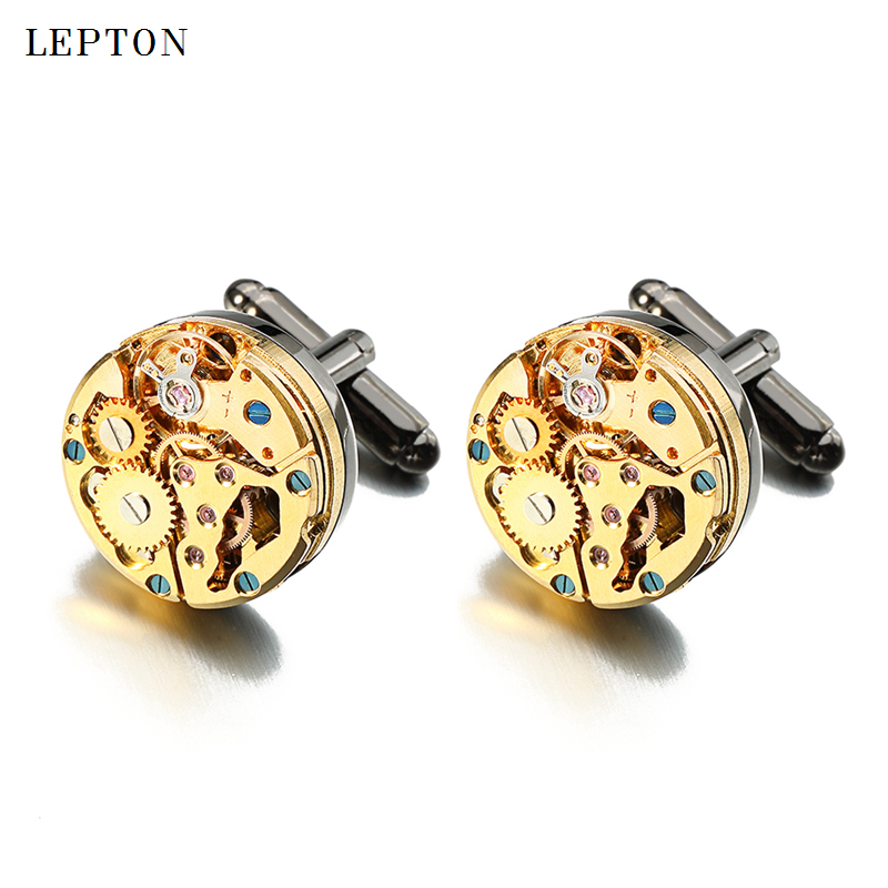 Lepton Watch Movement Cufflinks for immovable Gold Color Steampunk Gear Watch Mechanism Cuff links for Mens Relojes gemelos