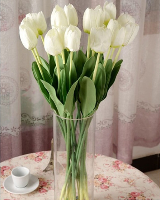 Haute Qualité Artificielle Faux Tulipe En Soie Bouquet Fleurs De ...