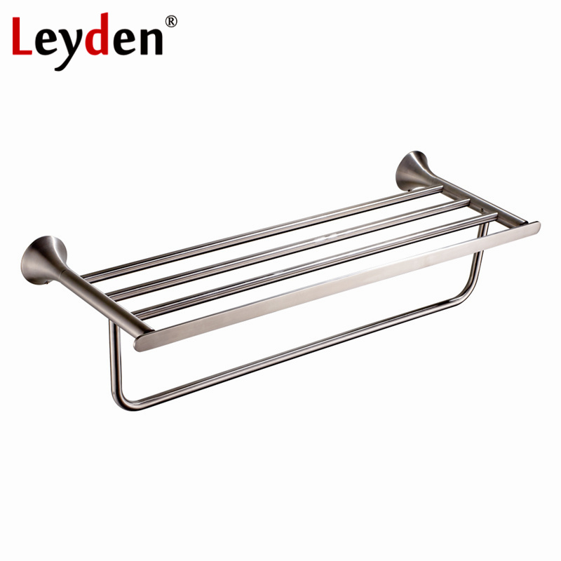 Leyden Stainless Steel Towel Rack Brushed Nickel Towel Holder Rail Clothes Shelf Wall Mounted Towel Shelf Bathroom Accessories free shipping bathroom accessories products solid 304 stainless steel nickel brushed double towel bars towel holder sus003