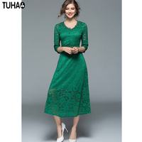 TUHAO Mid Calf Lace Hollow Out Sexy Ladies Dress Classic Elegant Vestidos V Neck High Quality