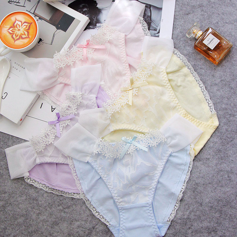 Japanese super sexy lace openwork mesh Pink Girls Underwear lady pants string tanga cotton panties women underwear panty