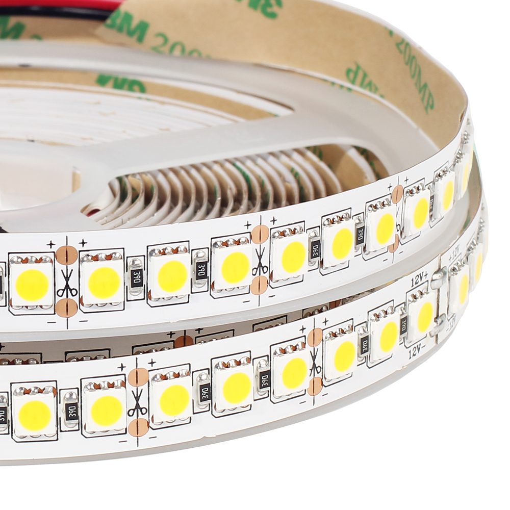 DC12V LED strip 5050 120LEDs/m,5M White / White warm Super Bright 5050 LED Flexible Strip Light