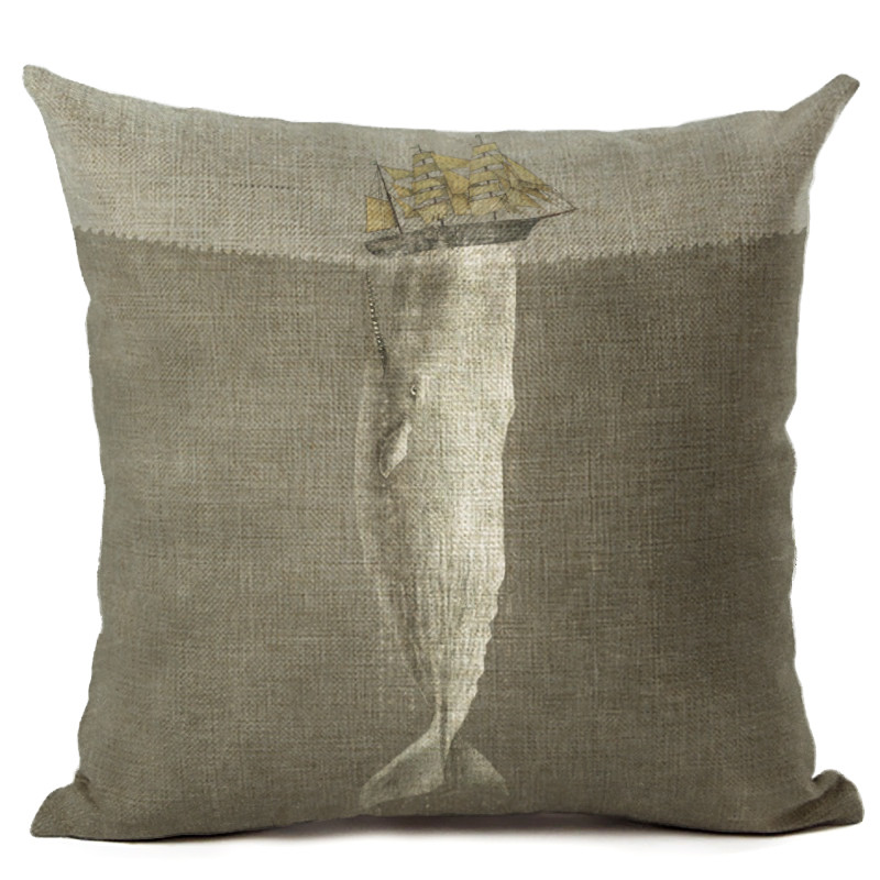 Maiyubo Pillowcase Luxury Moonlight Sailling Boat Shark Cushion Cover Home Sofa Chair Car Decor Pillow Cover Cotton Linen PC214