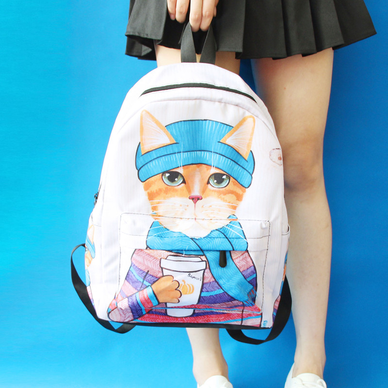 Able Japanese Korean Original Cartoon Cat Cute Girl Shoulder Bag College Wind Backpack Fashion Personality Travel Street Backpack Packing Of Nominated Brand Backpacks
