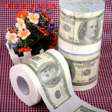 Free Shipping 60m 2packs 100 Dollars Printing Toilet Paper Tissues Roll Novelty Tissue Wholesale