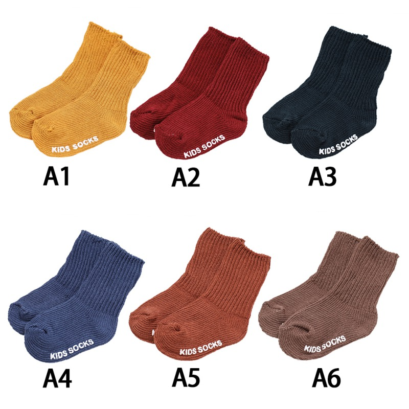 1 Pair Baby Socks Children Girls Soft Socks Anti Slip Solid Colorful Children\'s Socks Autumn Winter Foot Warmers Children