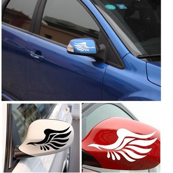 Guardian Angel Wings Lovely Reflective Car Stickers Fashion Car Rearview Mirror On The Fly Section image