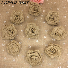 Natural Jute Burlap Hessian Flower Rose Handmade Vintage Wedding Decoration Party Decoration Hat Craft DIY Accessories