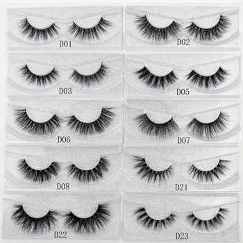 Visofree False eye lashes handmade natural make up False eyelashes glitter packing 1 pair box make up sexy 3D Mink Lashes D01