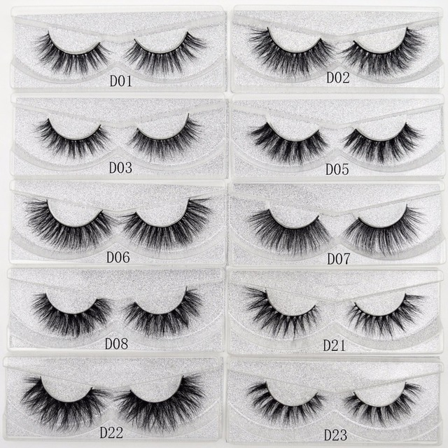 Visofree False eye lashes handmade natural make up False eyelashes glitter packing 1 pair box make up sexy 3D Mink Lashes D01