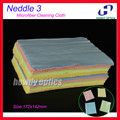 (HM-4L) Neddle 3 Colorful microfiber cleaning cloth for glasses lens phone watch screen etc 17.2x14.2cm Free Shipping