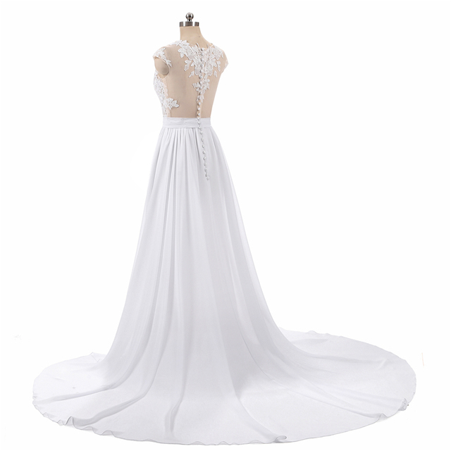 Beach Wedding Dresses A-Line Side Slit Elegant Lace Appliques Chiffon Plus Size Wedding Bridal Gowns Dress Vestido De Noiva
