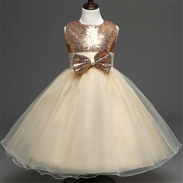 2a534ccb85 Children's Prom Sash bow Wedding Bridesmaid Dress for 2 to 10 Years Girls  Sequins Champagne Flower Girls Dress-in Dresses from Mother & Kids