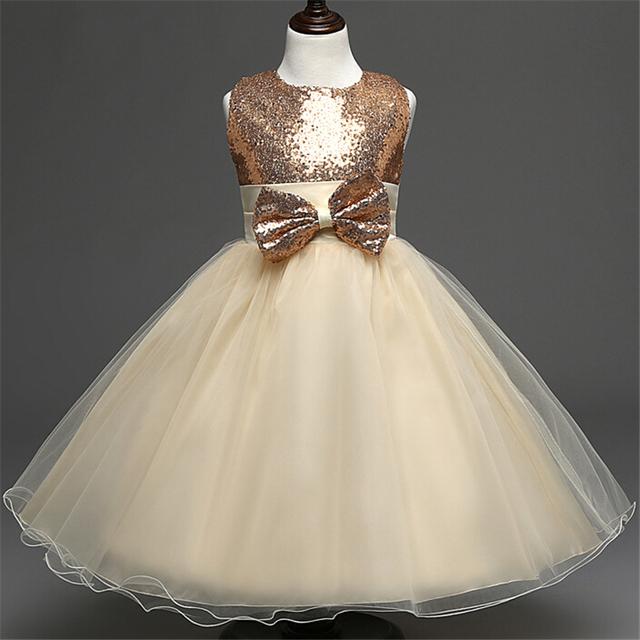 Sash bow Dama de Honra Do Casamento Vestido de Baile das crianças para 2 a 10 Anos Meninas Lantejoulas Champagne Flor Meninas Vestem