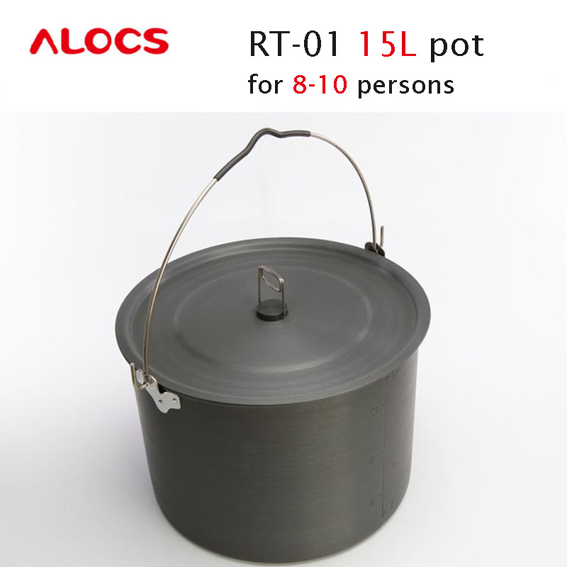 ALOCS RT-01 8-10 Persons Versatile Outdoor 15L Hanging  Camping Cooking Picnic Cookware Pot  and Cover boruit 10000lm underwater 200m flashlight 5 xml l2 led scuba diving flash light torch lantern 18650 or 26650 battery