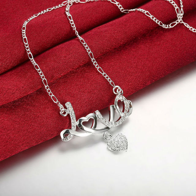 Delicate Fancy Silver LOVE   Heart Pendant Chain Long Necklace Women  Superstar Christmas Party Bijoux Femme Chaine Jewelry Gift d9bdc56841e