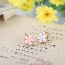 JIOFREE New Arrival Cute Flower Pink white Clip on Earrings Wihtout Piercing for Kids Fashion Earrings Not Allergy