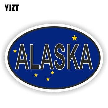 YJZT 14,2 CM * 9,5 CM del estado de ALASKA bandera adhesivo ovalado adhesivos para ventana de coche accesorios 6-1580