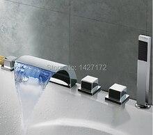 Смешанной бортике полированный ручным душем водопад современная хром нажмите латунь ванна