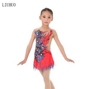 Image 2 - ילדה נשים אומנותית התעמלות ביצועים חליפת התעמלות אמנותית שמלת עגול צוואר שרוולים אדום סגול דפוס
