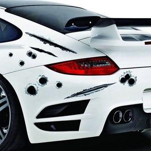 Image 1 - 자동차 스티커 1Pcs 3D 총알 구멍 데칼 자동차 커버 오토바이 스크래치 현실적인 총알 구멍 방수 스티커