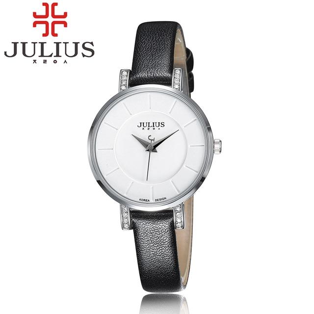 2018 Top Marca Julius Moda Lady Menina Das Mulheres Vestido Relógios De Couro Masculino Amantes Do Sexo Feminino Quartz Relógio de Pulso Relogio feminino Presente