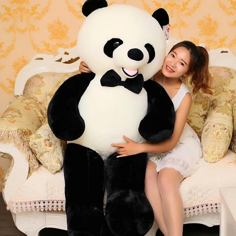 140 cm En Peluche Jouets Grand Panda Jouet Noir Blanc Réel Vie Panda Doux Poupée En Peluche Ours Jouet Jouets pour Enfants juguetes Brinquedos