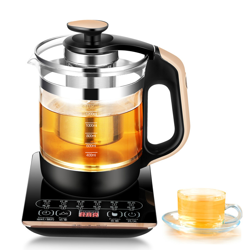 Electric kettle heating boiling tea - glass insulation transparent black automatic power Safety Auto-Off Function free shipping multifunctional health pot kettle with thick glass automatic tea insulation safety auto off function