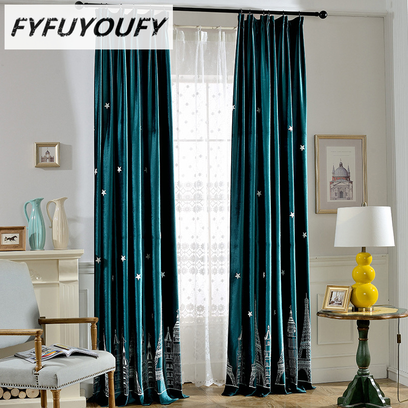 Modern Embroidered Cartoon Castle Window Curtains For Kids Room Girls Boys Baby Bedroom Design Blackout Curtains