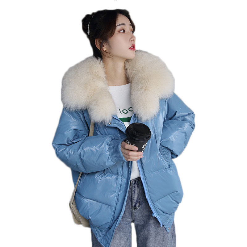 WSYORE Short   Down     Coat   Women Shine Loose Jackets 2018 New Winter Warm Big Fox Fur Collar Duck   Down   Jacket Parkas Mujer NS877