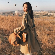Khaki Lapel Double-breasted Windbreaker Woman Classic Waisted Long Trench Coat Loose Coat Autumn Outerwear цена 2017