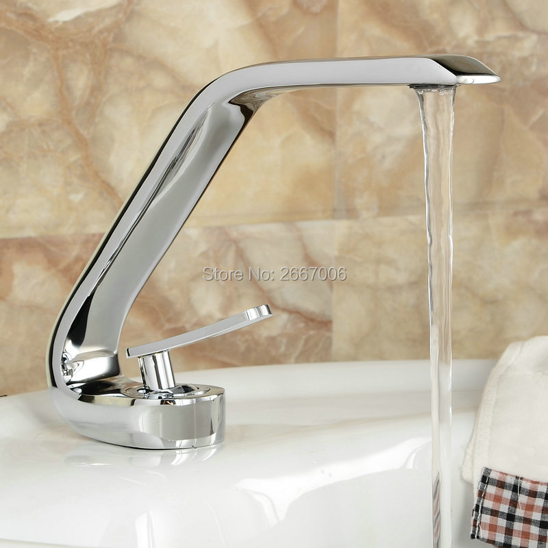 Free shipping Fancy G Design Faucet Chrome Brass Basin Faucet High Quality Vanity Sink Mixer Taps Waterfall made in China ZR609 free shipping high quality chrome finished brass in wall bathroom basin faucet brief sink faucet bf019
