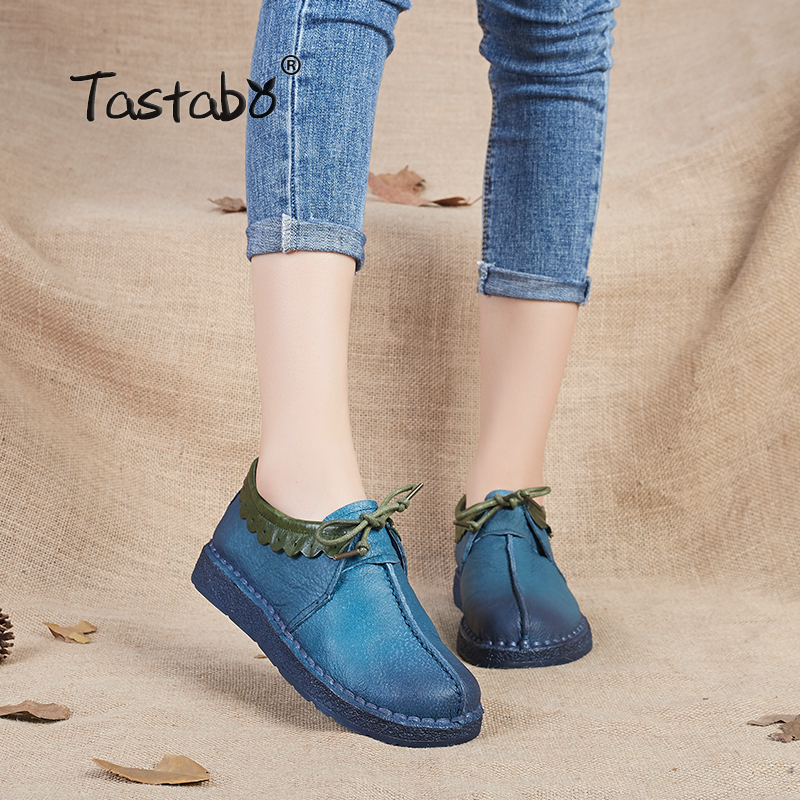 Tastabo Fashion Loafers Women Shoes Genuine Leather Shoes Handmade Soft Comfortable Flat Shoes